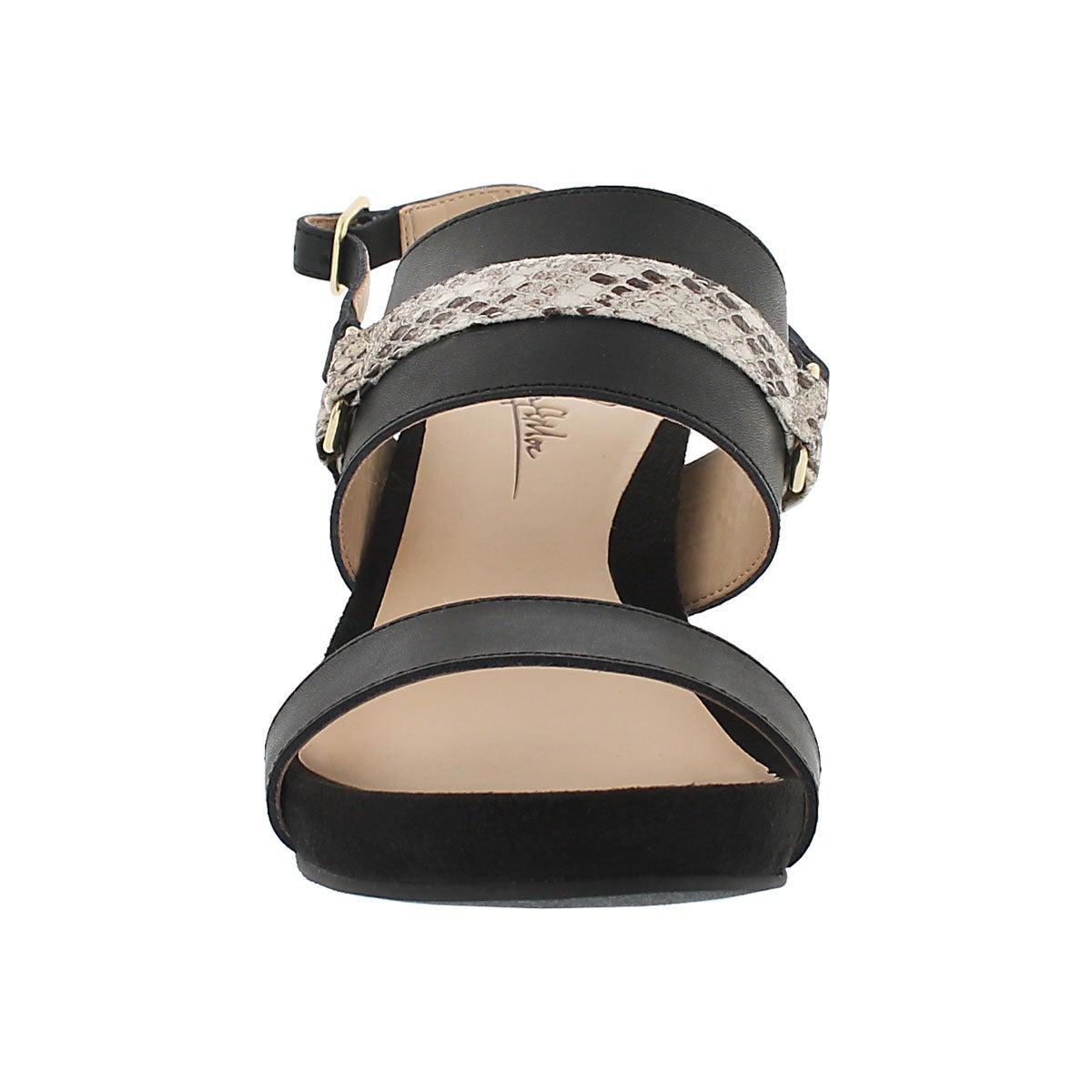 Lds Gili blk mem. foam wedge sandal