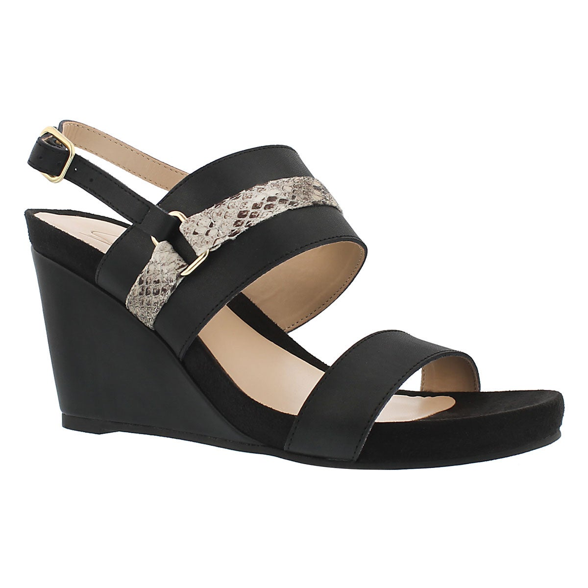 Lds Gili blk mem. foam wedge sandal