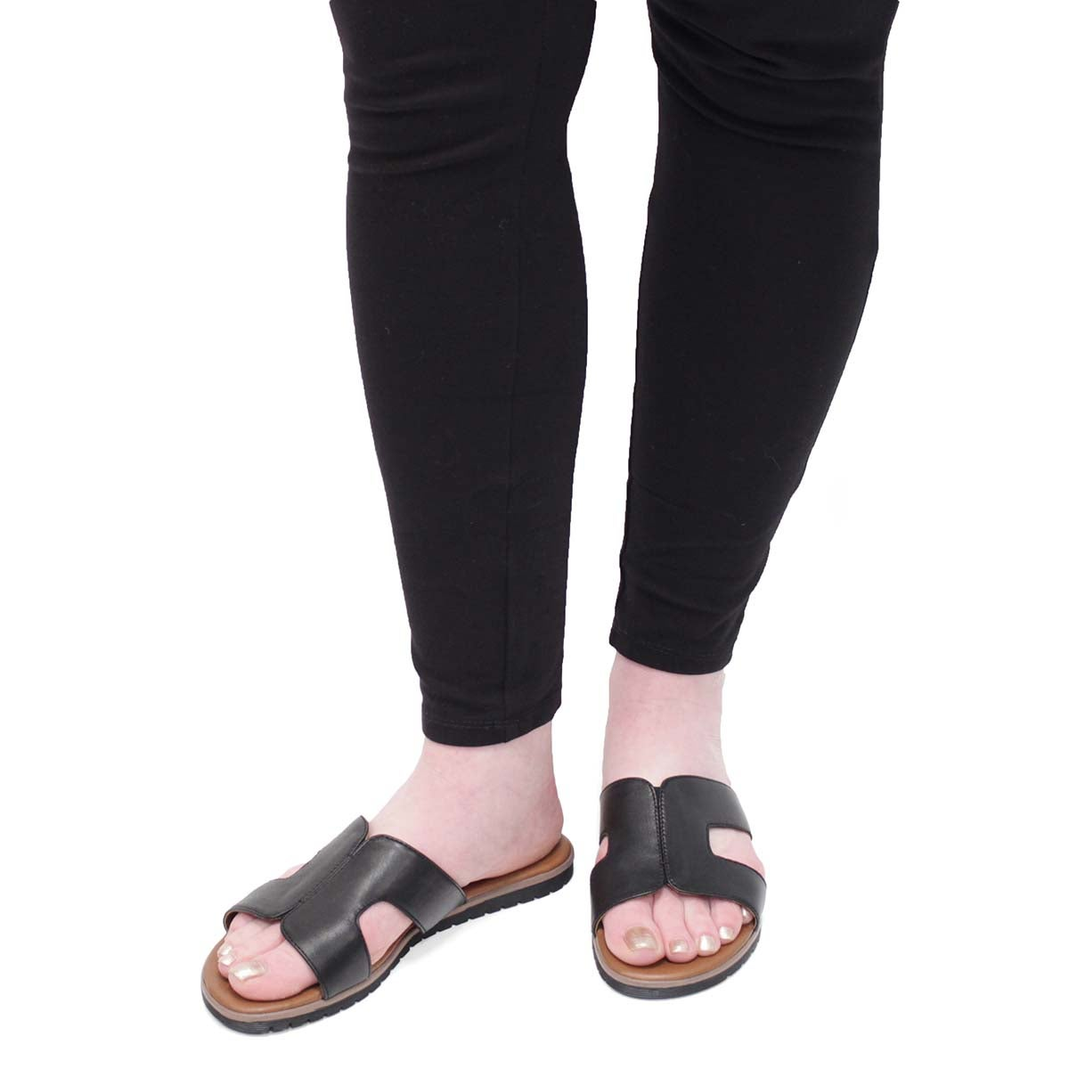 Lds Gillian black slide sandal
