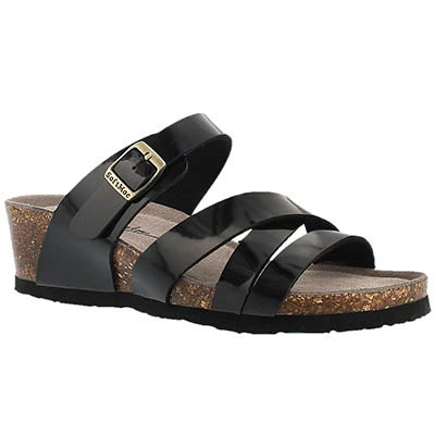 SoftMoc Women's GINNIE blk patent memory foam wdge sandals