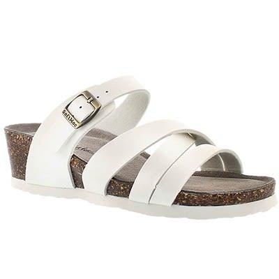 SoftMoc Women's GINNIE white memory foam wedge sandals