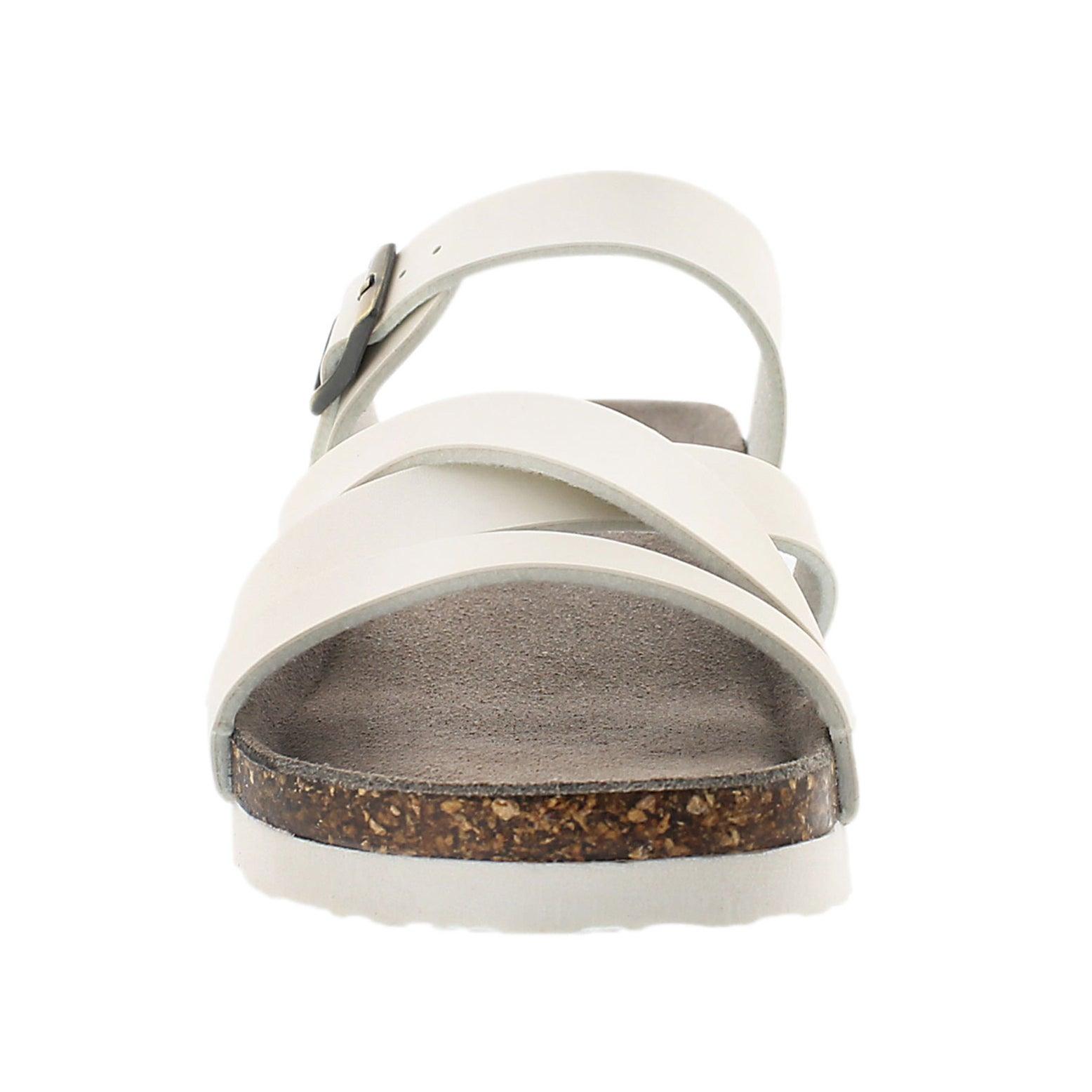 Lds Ginnie white mem. foam wdge sandal