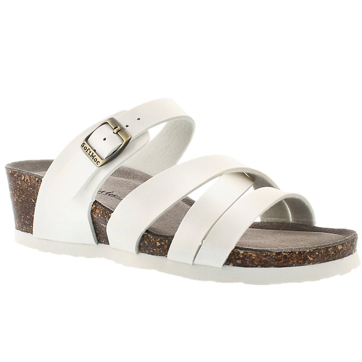 Women's GINNIE white memory foam wedge sandals