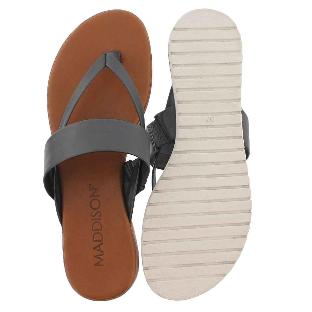 Lds Giselle black thong sandal
