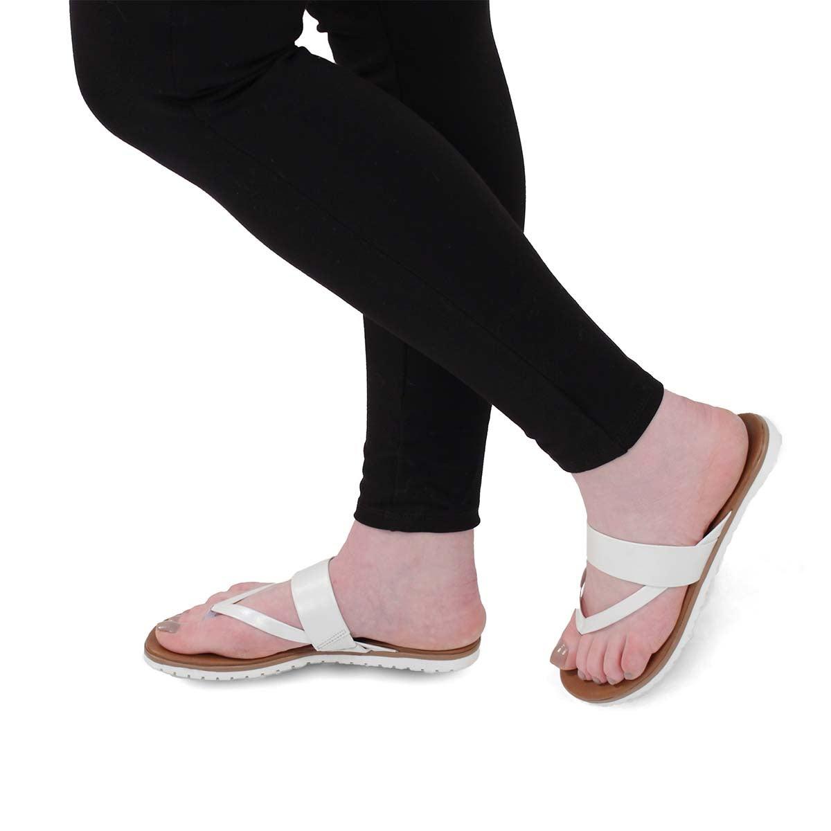 Lds Giselle white thong sandal