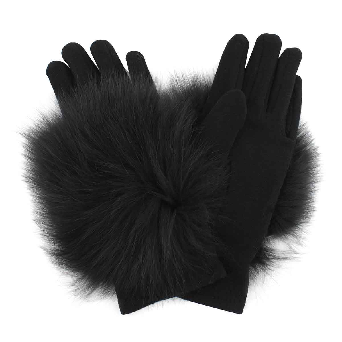 Lds knitted w/ fur piece black gloves