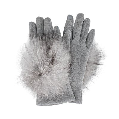 Lds knitted w/ fur piece grey gloves