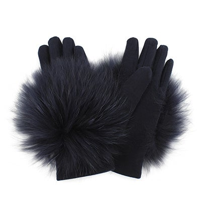 Lds knitted w/ fur piece navy gloves
