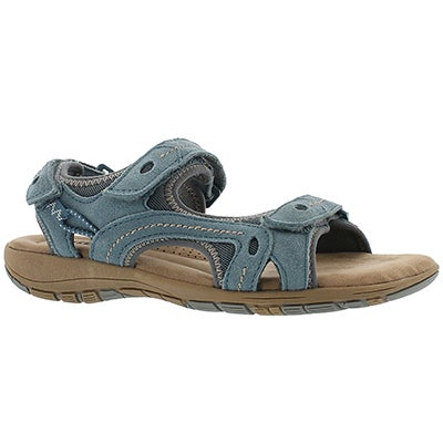 SoftMoc Women's GLADYS blue 3-strap memory foam sandals