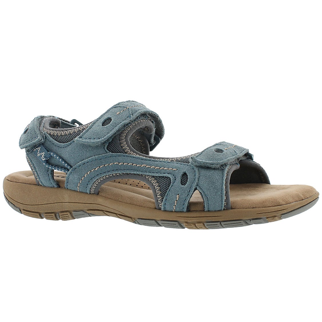 Women's GLADYS blue 3-strap memory foam sandals