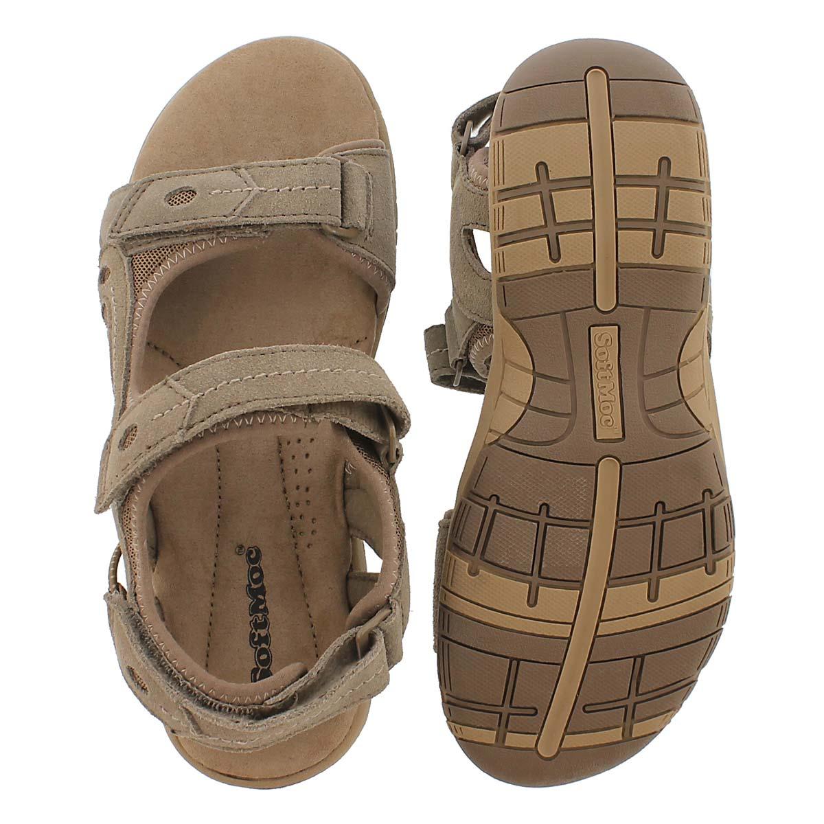 Lds Gladys brn 3-strap mem. foam sandal
