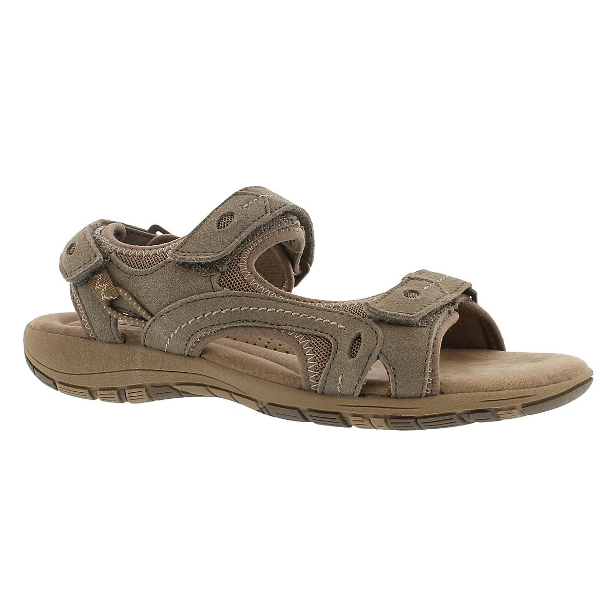 Women's GLADYS brown 3-strap memory foam sandals