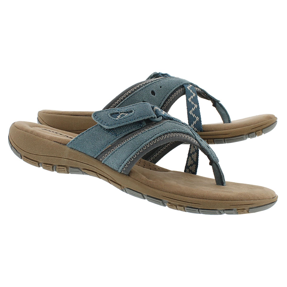 Lds Glenda blue mem. foam thong sandal