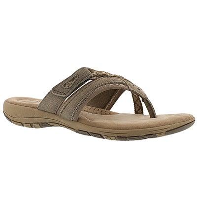 SoftMoc Women's GLENDA brown memory foam thong sandals
