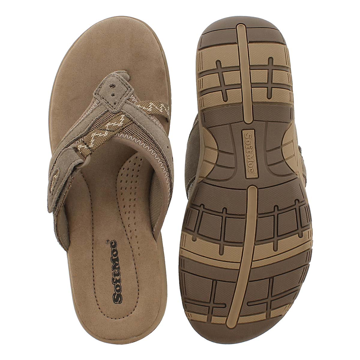 Lds Glenda brown mem. foam thong sandal