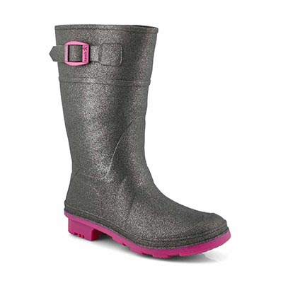 Kamik Girls' GLITZY charcoal waterproof rain boots