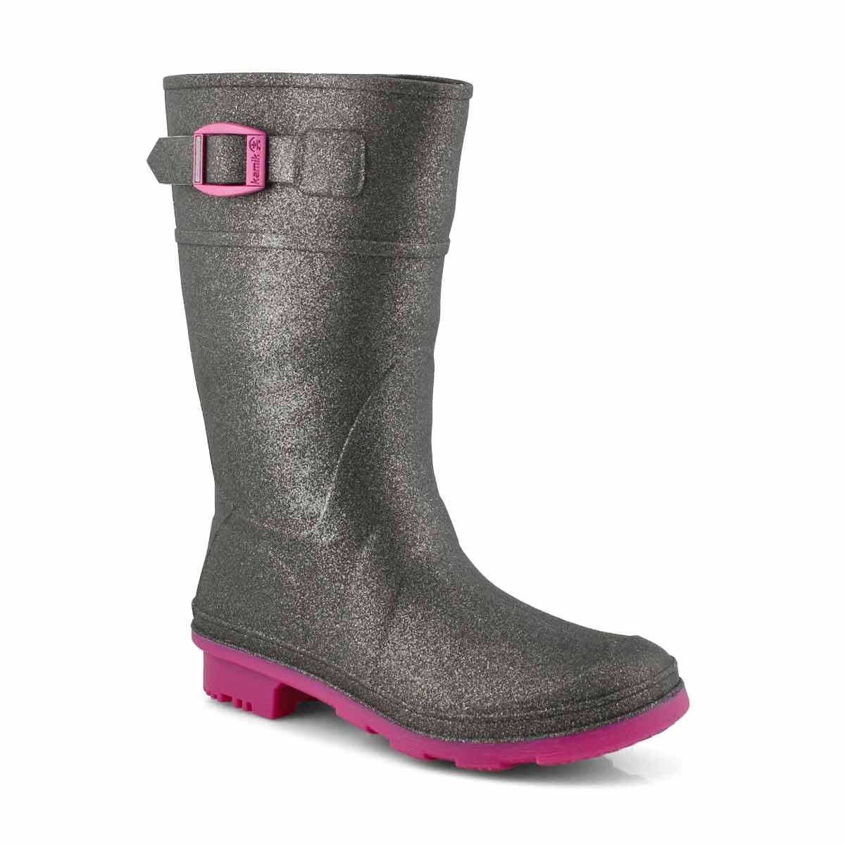 Girls' GLITZY charcoal waterproof rain boots