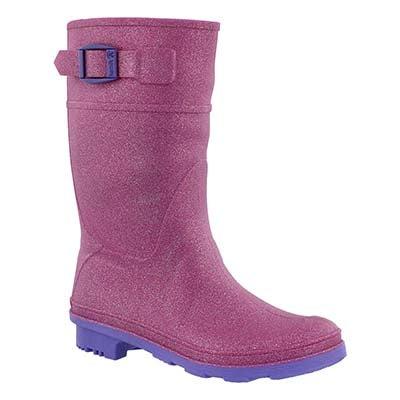Grls Glitzy magenta wtpf rain boot