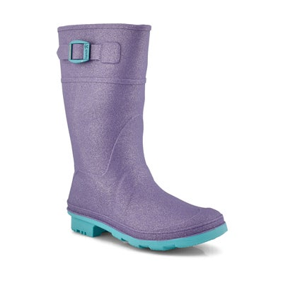 Grls Glitzy purple wtpf rain boot