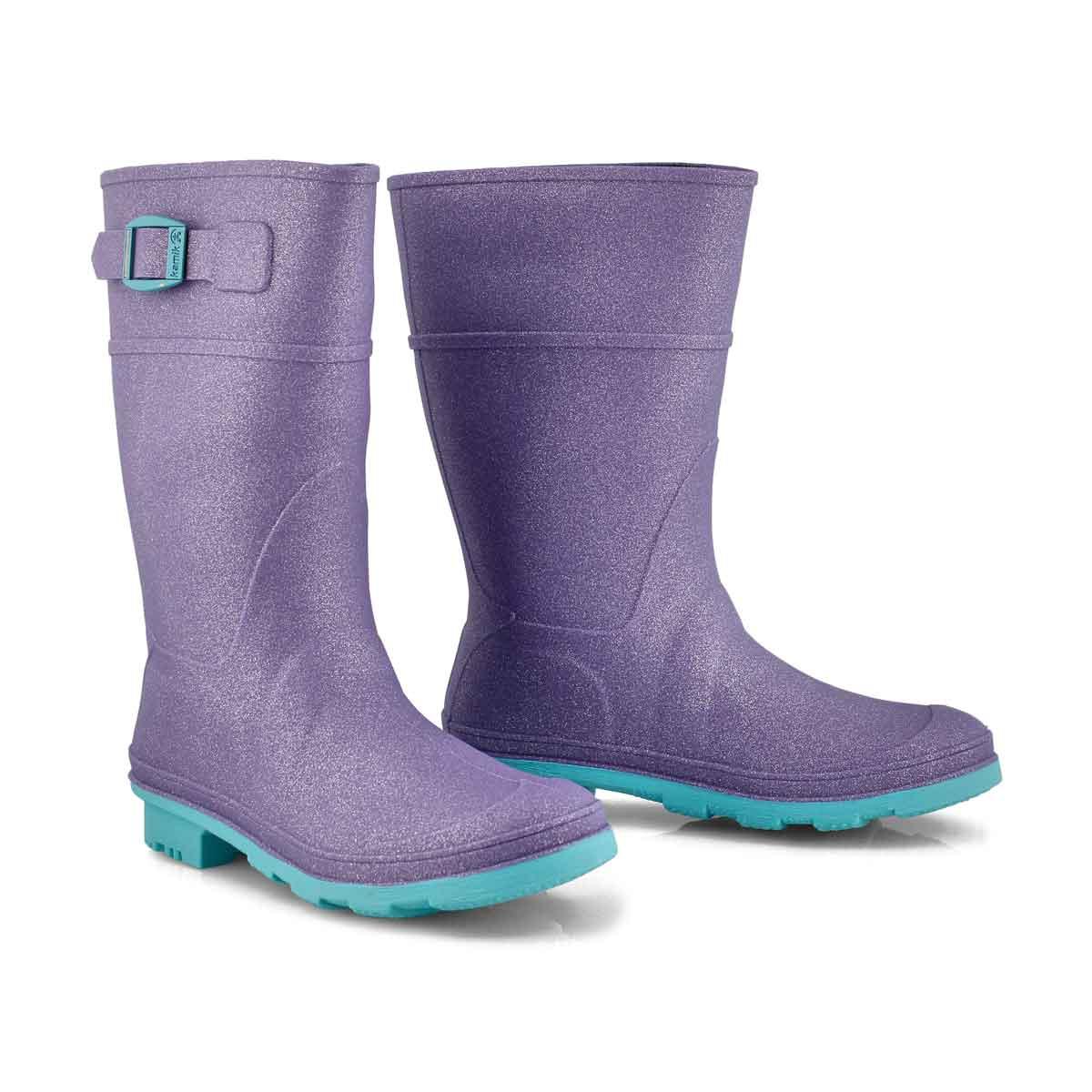 Grls Glitzy purple wtpf rain boot