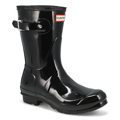 Hunter Women's ORIGINAL SHORT GLOSS black rain boots