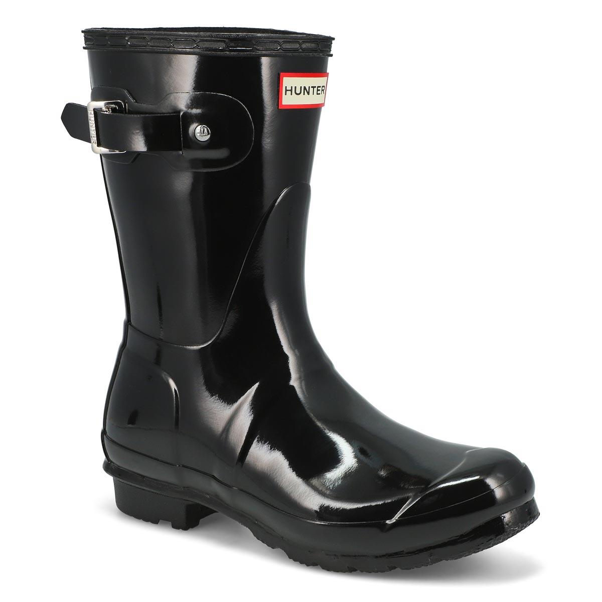 Women's ORIGINAL SHORT GLOSS black rain boots