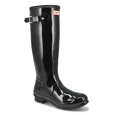 Hunter Women's ORIGINAL TALL GLOSS black rain boots