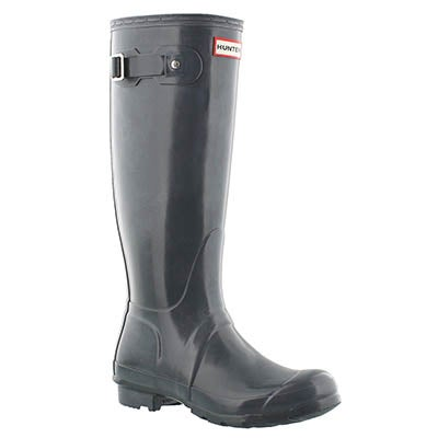 Hunter Women's ORIGINAL TALL GLOSS grey rain boots