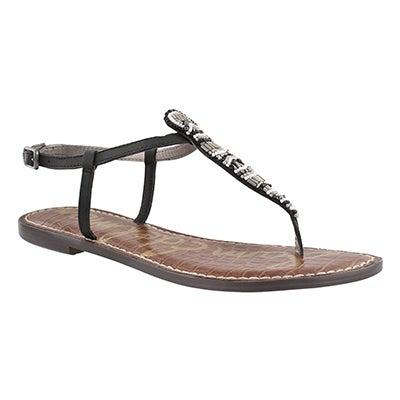 Lds Grace black casual t-strap sandal