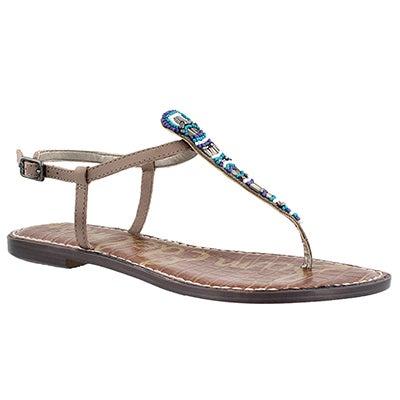 Lds Grace putty casual t-strap sandal