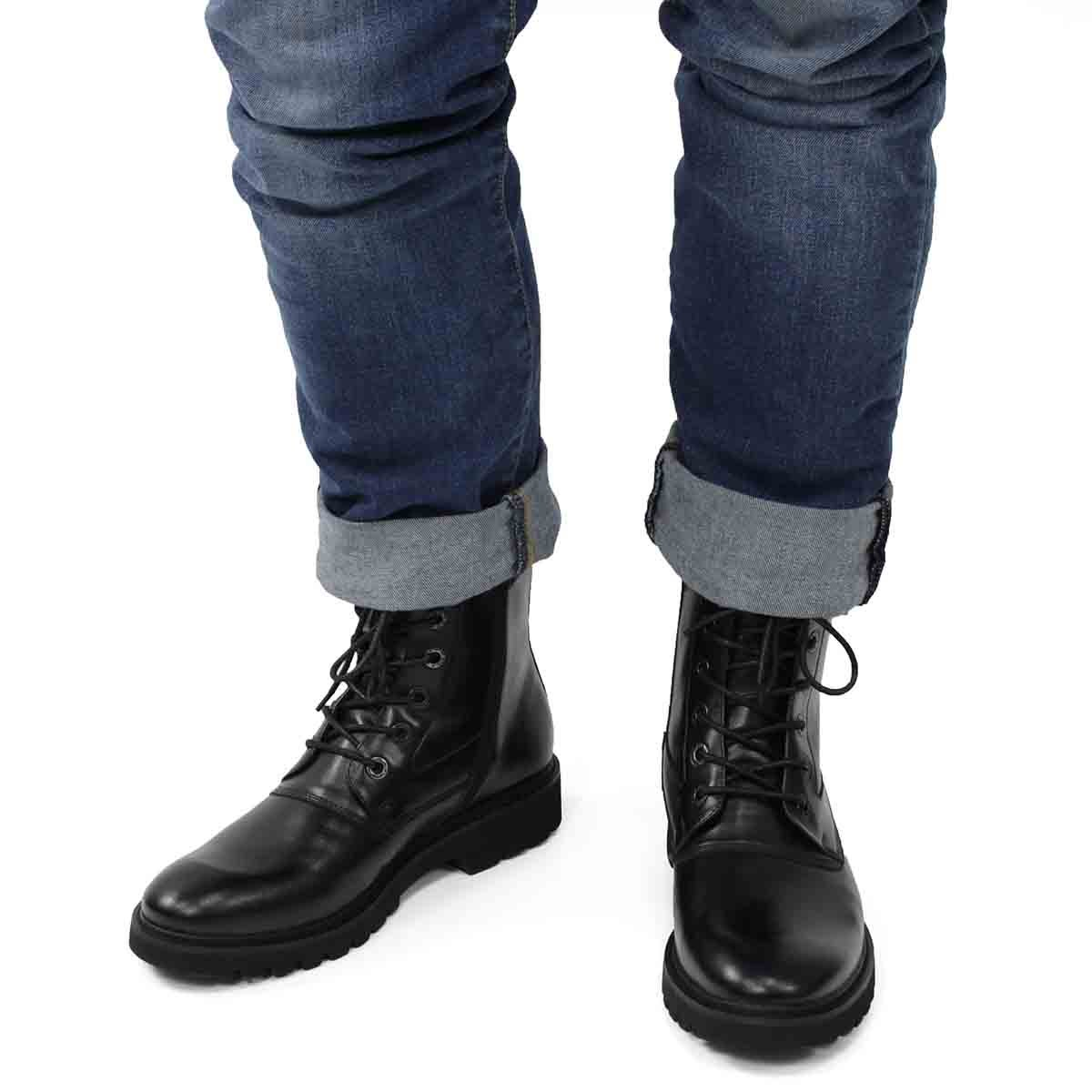 Mns Grand black lace up combat boot
