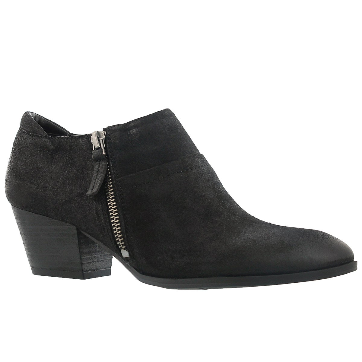 Lds Greco blk zip up casual heel