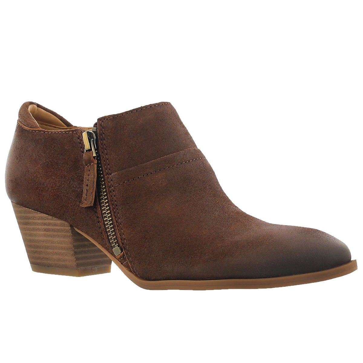 Women's GRECO tan zip up casual heels