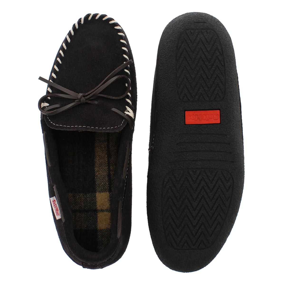 Mns Greg brn plaid lined moc