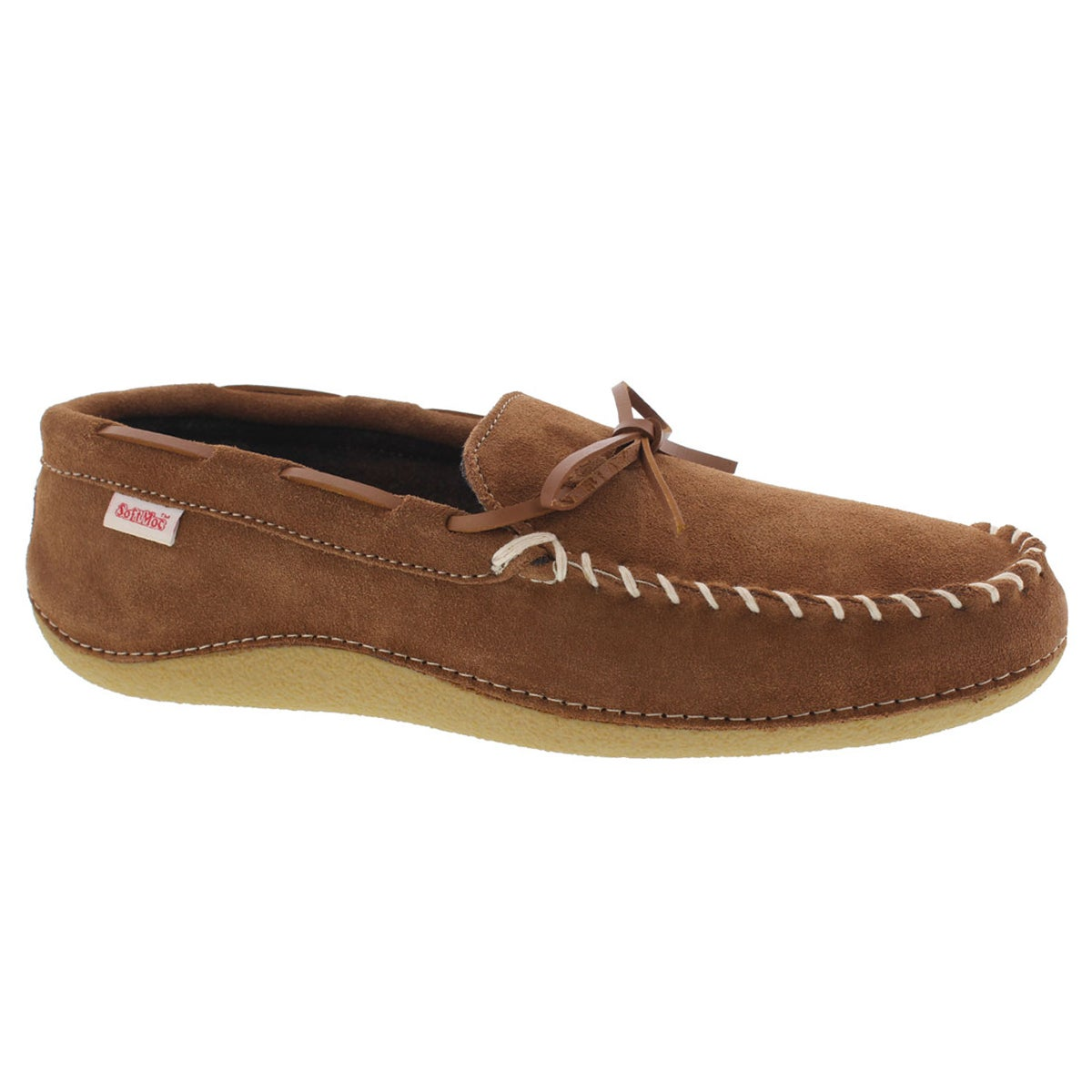 Men's GREG hazelnut plaid lined moccasins