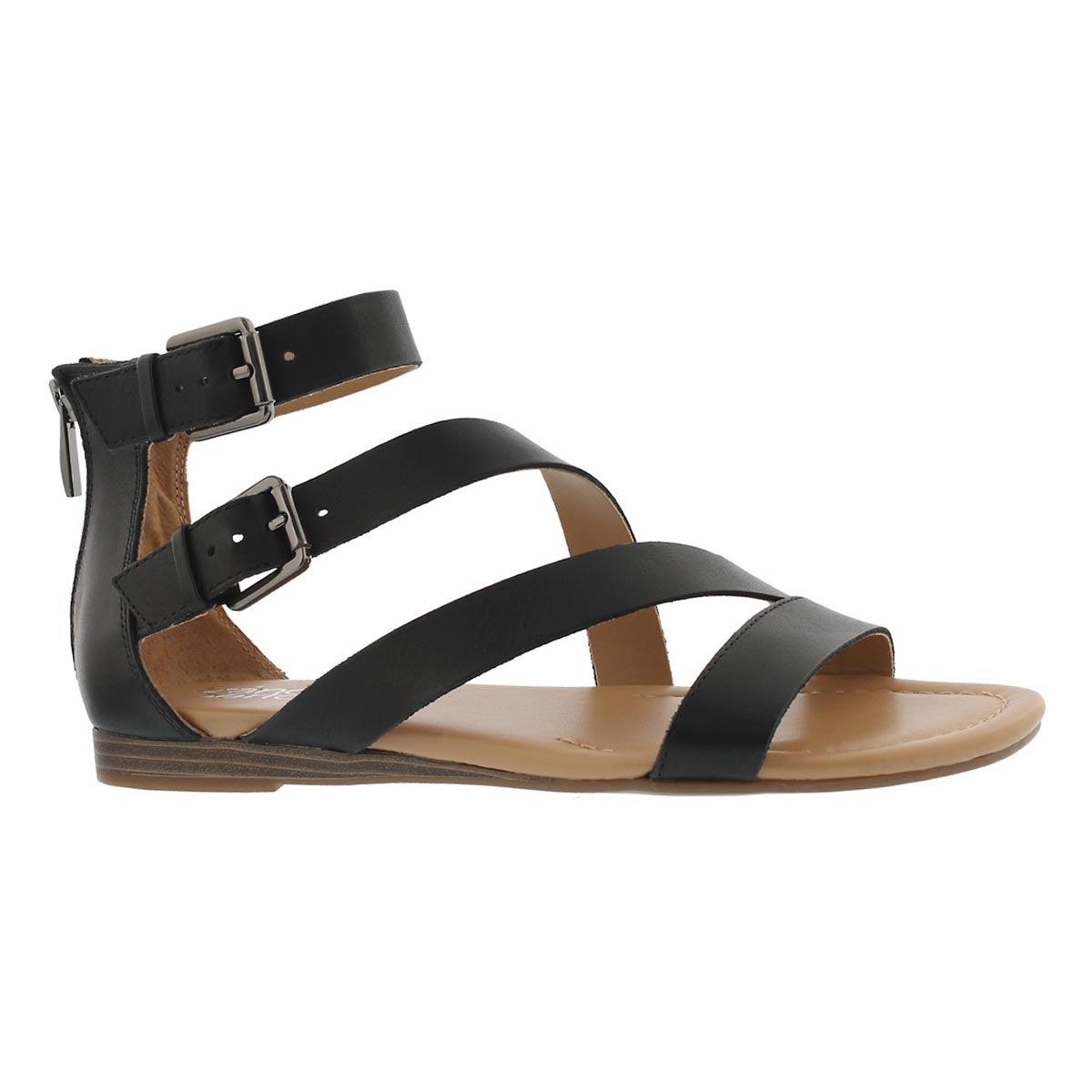 Women's GRETA black casual wedge sandals