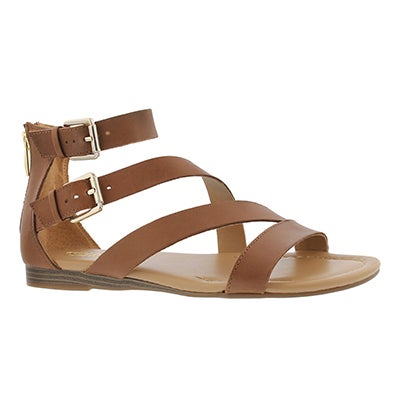 Lds Greta saddle tan casual wedge sandal