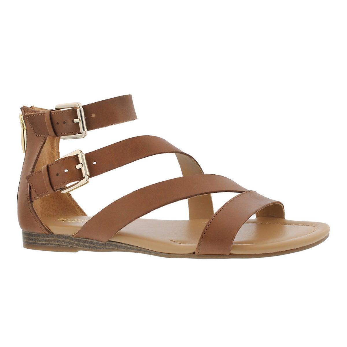 Women's GRETA saddle tan casual wedge sandals