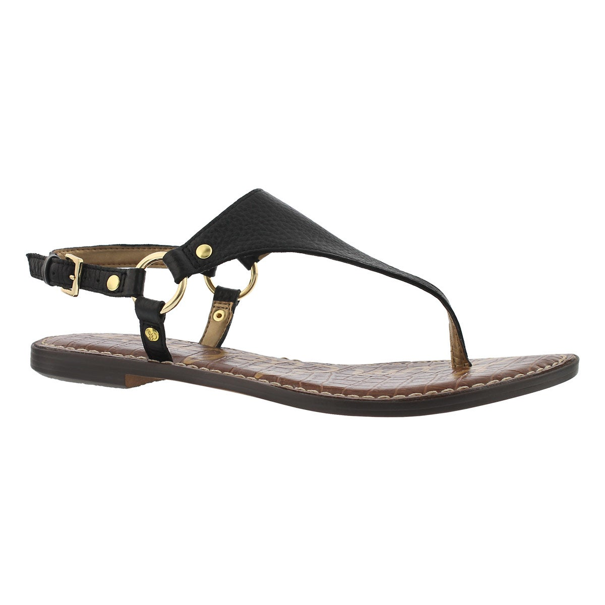 Women's GRETA black casual thong sandals