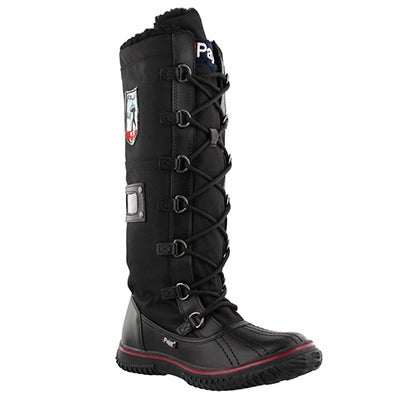 Pajar Women's GRIP ZIP blk nylon waterproof winter boots