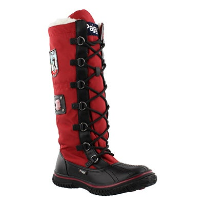 Pajar Women's GRIP ZIP red nylon waterproof winter boots