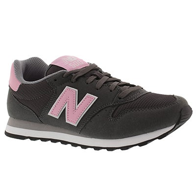 New Balance Women's 500 grey/multi suede lace up sneakers