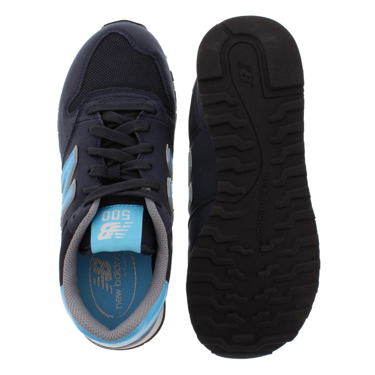 Lds 500 navy/mlti suede lace up sneaker