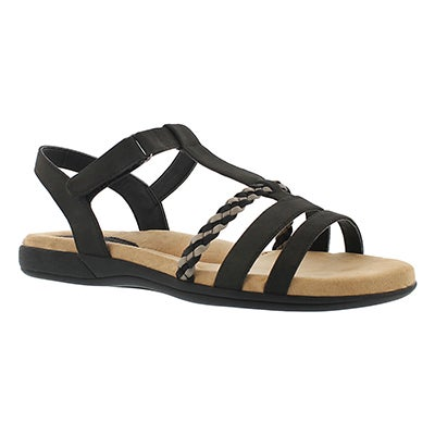SoftMoc Women's GWEN black t-strap memory foam sandals