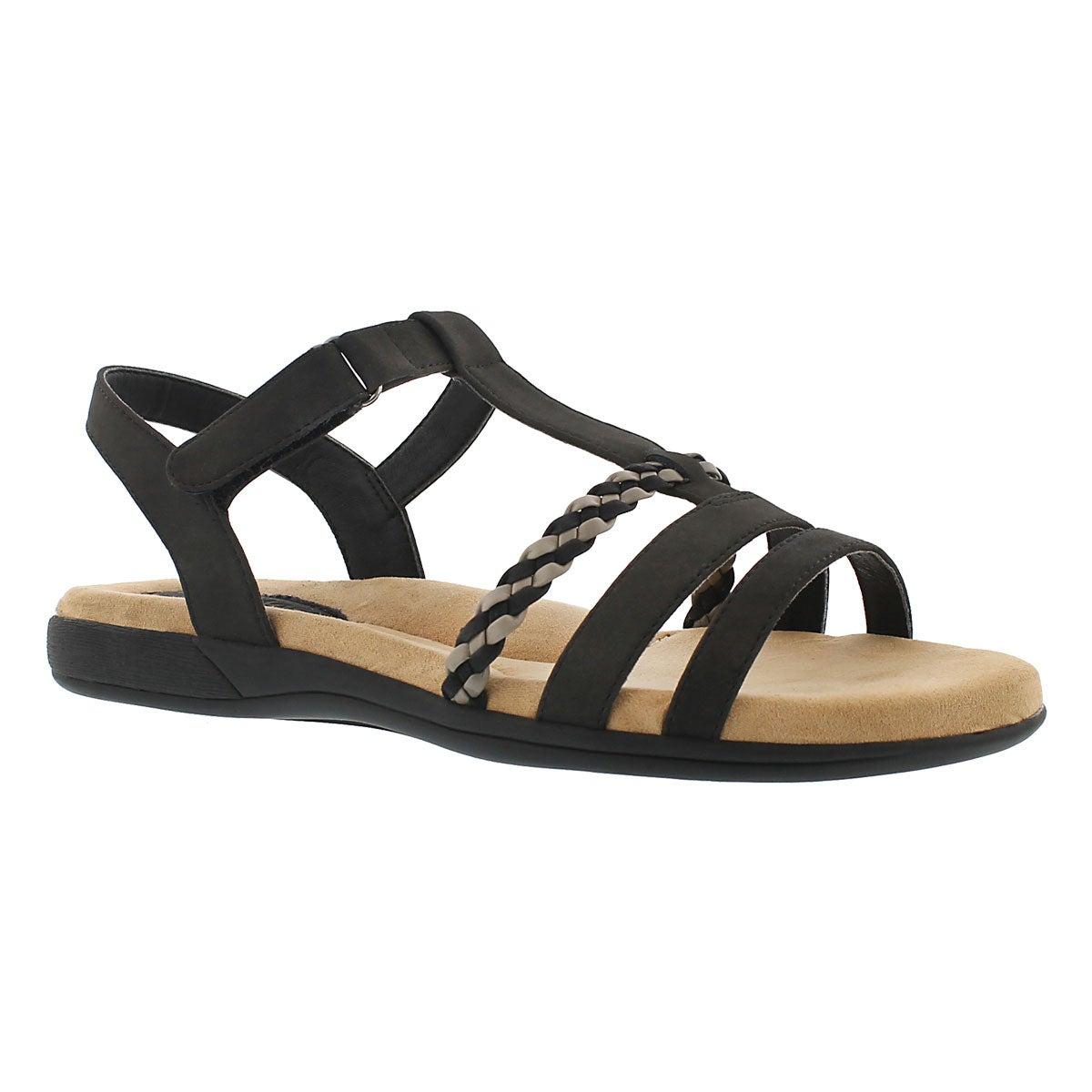 Lds Gwen black t-strap mem. foam sandal