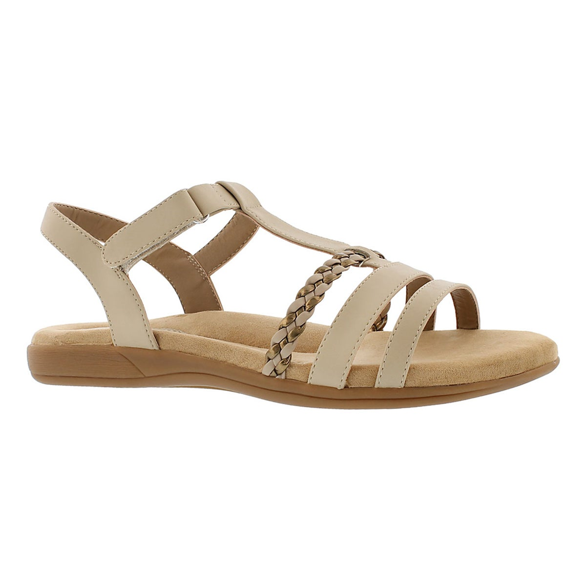 Women's GWEN tan t-strap  memory foam sandals