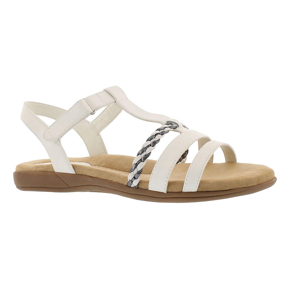 Women's GWEN white t-strap memory foam sandal