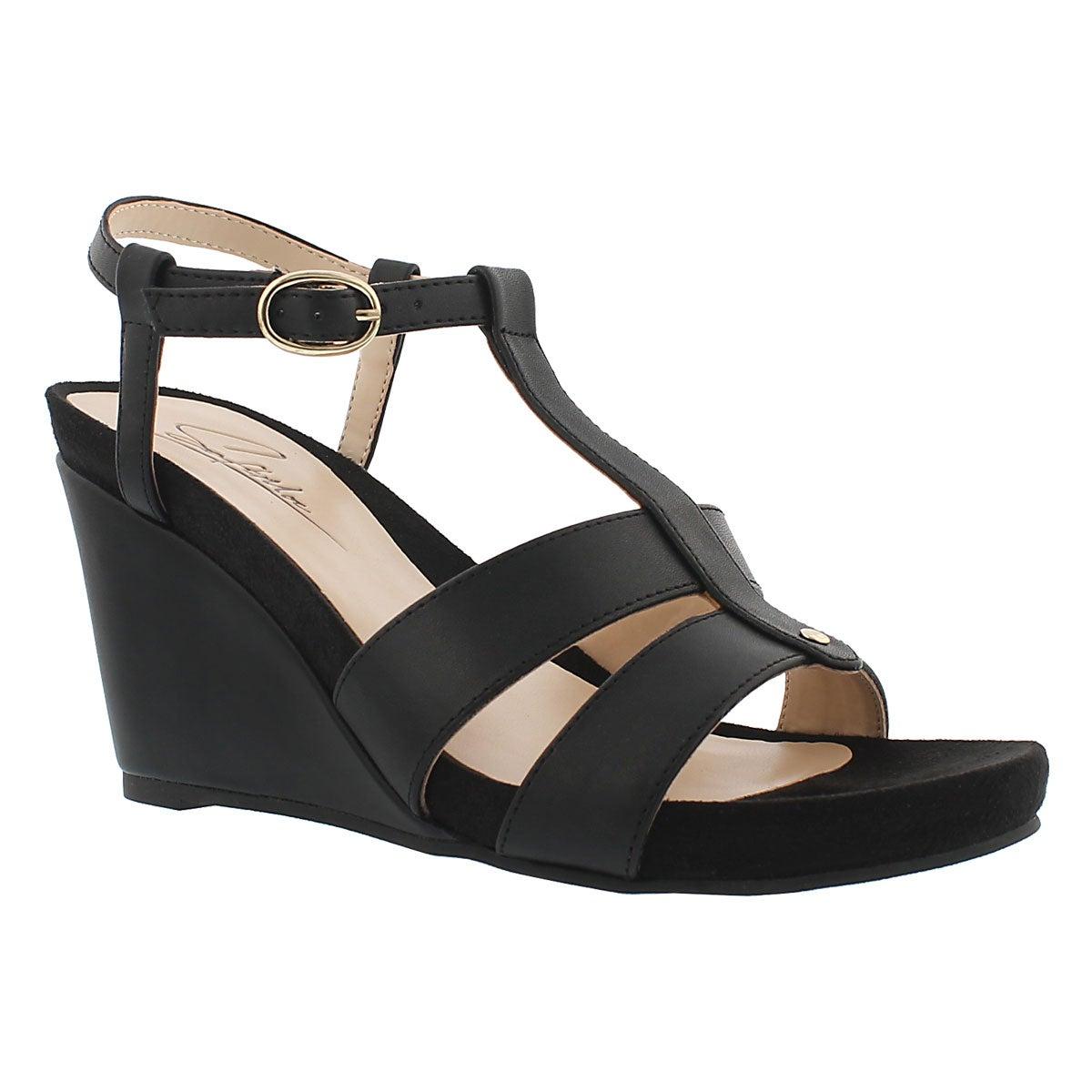 Women's GYPSY black memory foam wedge sandals