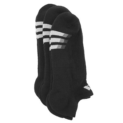 adidas Men's CUSHIONED NO SHOW black socks - 3pk