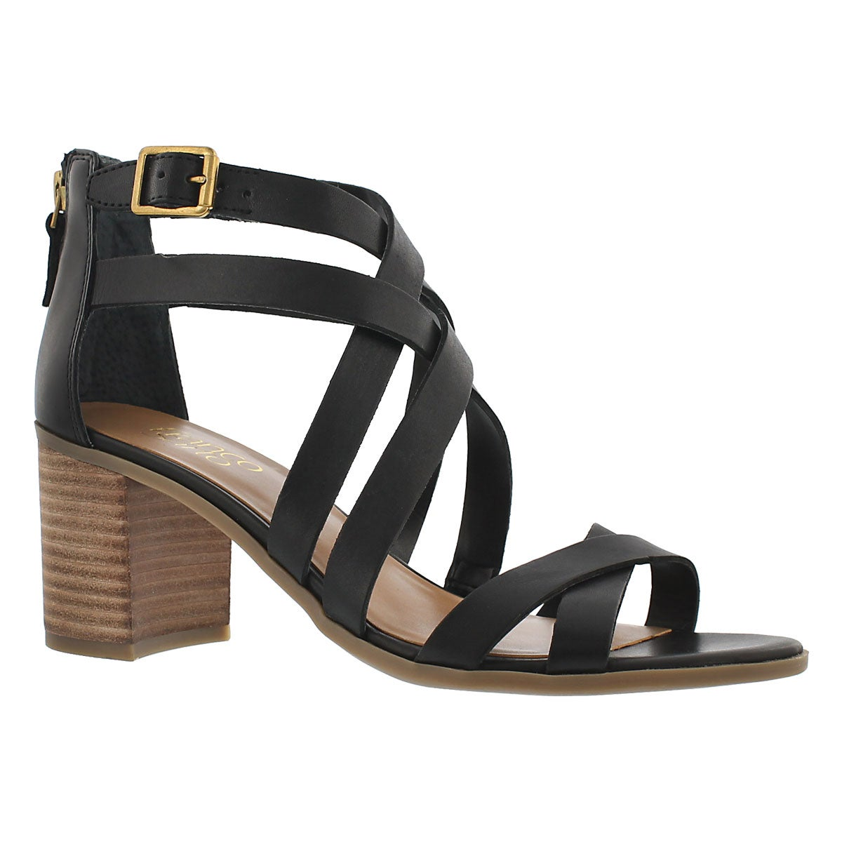 Lds Hachi blk cross strap dress sandal